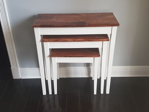 Custom Made 3 Tier Nesting Tables With Epoxy Top Finish