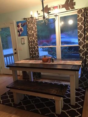 Custom Made Colonial Style Farmhouse Dining Table & Matching Bench