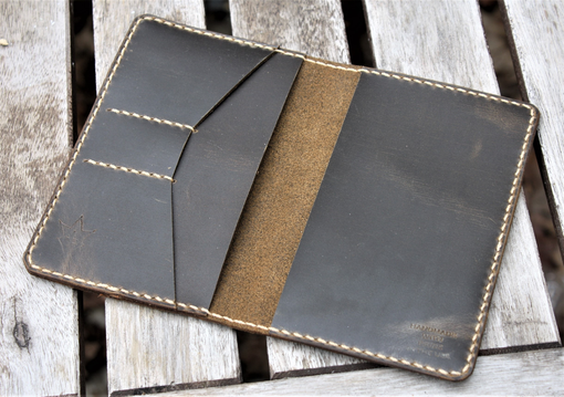 Custom Made Handmade Leather Case Cover Wallet Scribo Field Notes Moleskine Coyote Shell Shock