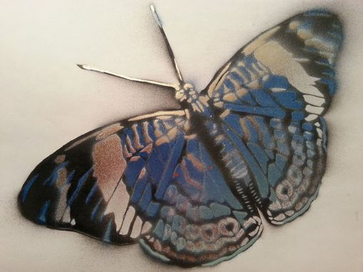 Custom Made Blue & Gold Butterfly Graffiti Painting