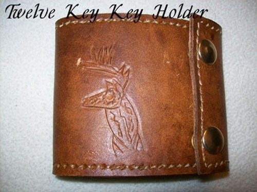 Custom Made Custom Leather Key Holder With Deer Head Design In Java Brown