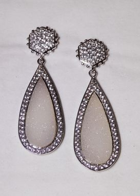 Custom Made White Topaz And White Druzy Long Teardrop Earrings In Sterling Silver