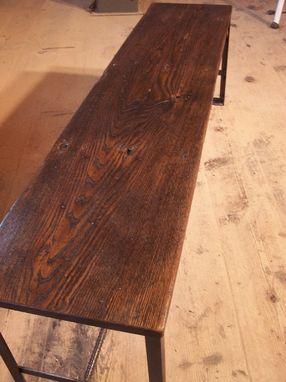 Custom Made Industrial Chic Bench From Reclaimed Wood And Metal