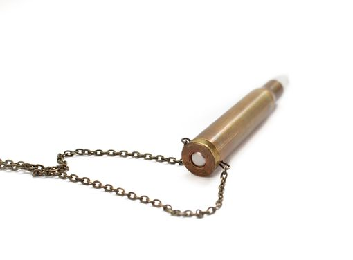 Custom Made Bullet Shell And Quartz Crystal Necklace