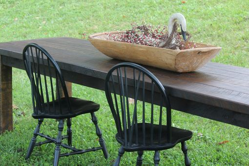 Custom Made Custom Rustic Black Walnut Farm Table Dining Set