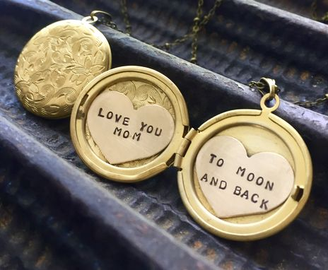 "Custom Made Love You ""Name"" To Moon And Back Locket Necklace, Custom Name Locket Necklace"