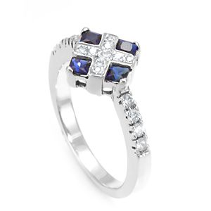 Custom Made Blue Sapphire And Diamond Ring In 14k White Gold, Engagement Ring, Blue Sapphire Ring