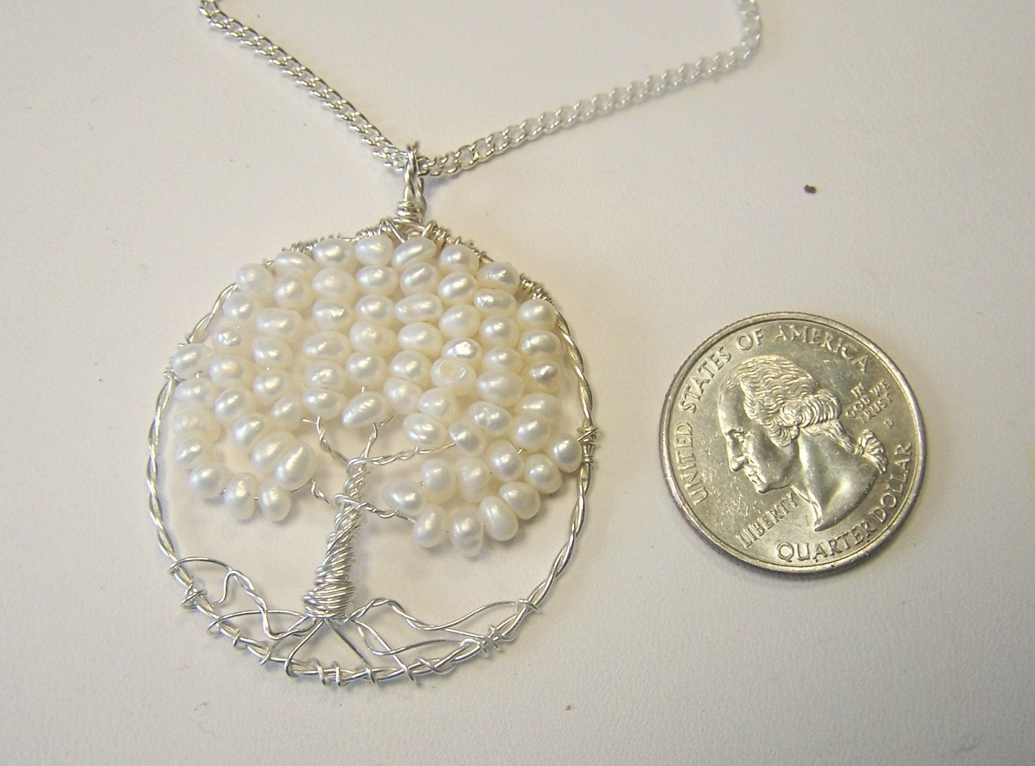 Hand Crafted Pearl Tree Of Life Pendant Necklace Round