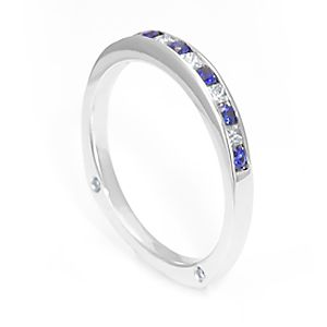 Custom Made Blue Sapphire And Diamond Band In 14k White Gold, July Birthstone Ring, Ladies Band, Colored Stone