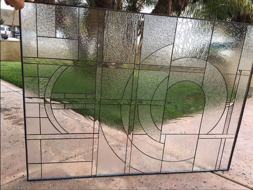 Custom Made Gorgeous All Clear Beveled & Clear Textured Stained Glass Window
