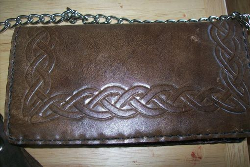 Custom Made Custom Leather Biker Wallet With Full Celtic Knot