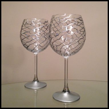 Custom Made Hand Painted Wine Glasses. Silver Abstract Design