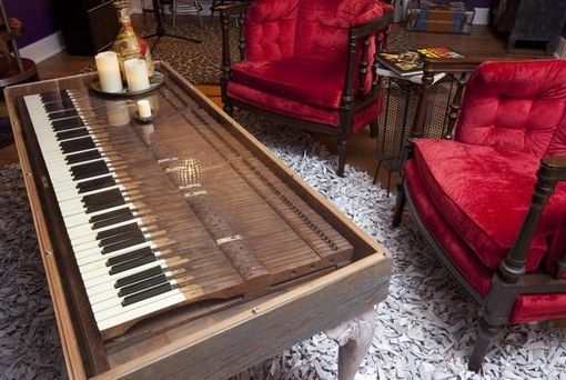 Custom Made Repurposed Piano Key Coffee Table