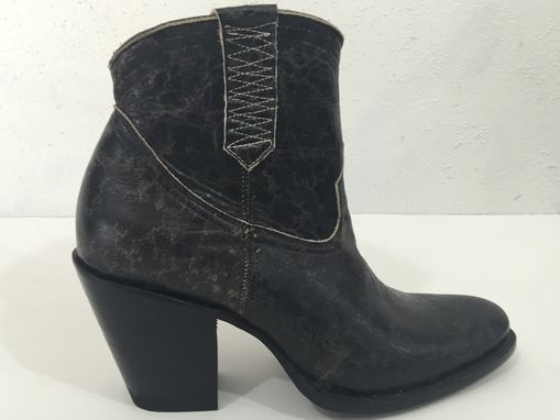 Custom Made Black Distressed Old Look Ankle Boots Round Toe With 4 Inch Heels Men Sizes