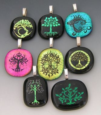 Custom Made Tree Designs Laser Etched Dichroic Fused Glass Pendants
