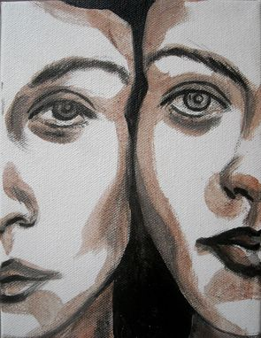 Custom Made Dual-Acrylic And Pencil On Canvas Portrait Of Two Women