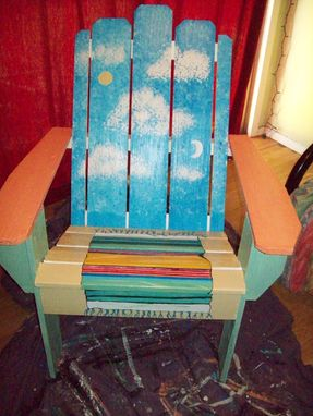 Custom Made Wood Adorondack Chair, Handpainted