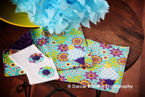 "Custom Made Soft Flannel Placemats And Table Napkins ""Plum Pudding''"