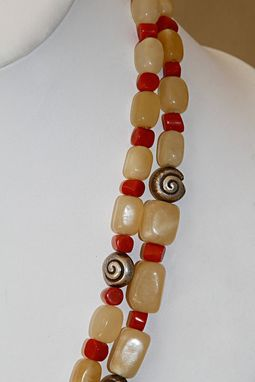 Custom Made Whimsical Stone Necklace Using Blocks Of Pineapple Calcite And Mediterranean Orange Red Coral