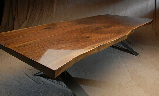 Custom Made Live Edge Walnut Dining Table W/ Metal