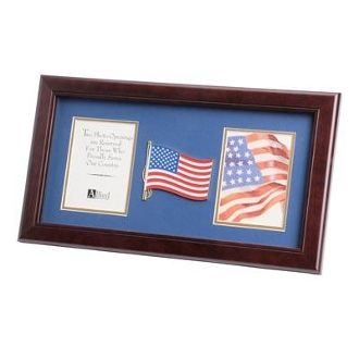Custom Made American Flag Medallion Double Picture Frame