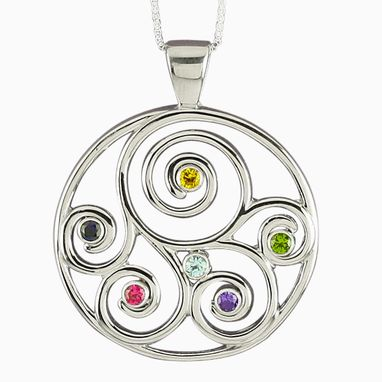 Custom Made Grandma Gift! - Family Birthstone Pendant In Sterling Silver