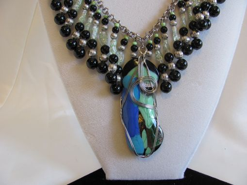 Custom Made Symphony In Seafoam & Black Statement Necklace