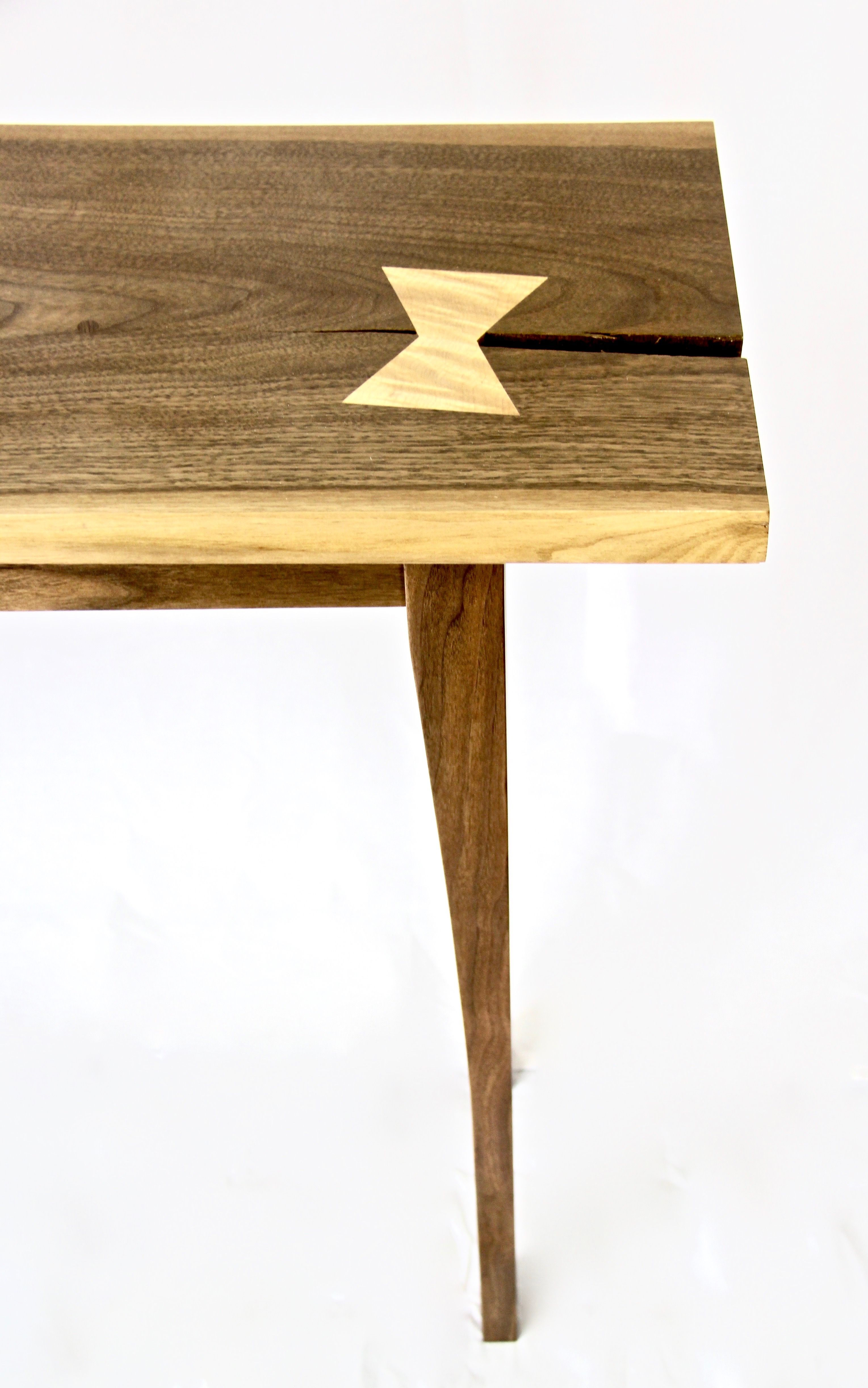 Handmade Live Edge Walnut Console Table With Tiger Maple Butterfly