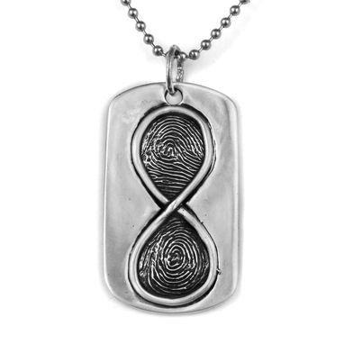 Custom Made Infinity Sign Fingerprint Dogtag In Sterling Silver