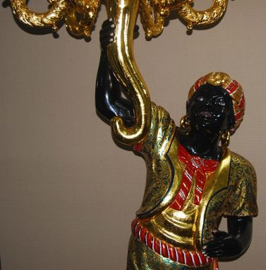 "Custom Made Carved Custom Made 80"" High Blackamoor"