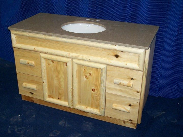 Custom Made Knotty Pine Rustic Bathroom Vanity Handmade by Fbt Sawmill