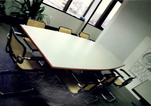 Custom Made Hpl Conference Table With Paduke Wood Accents