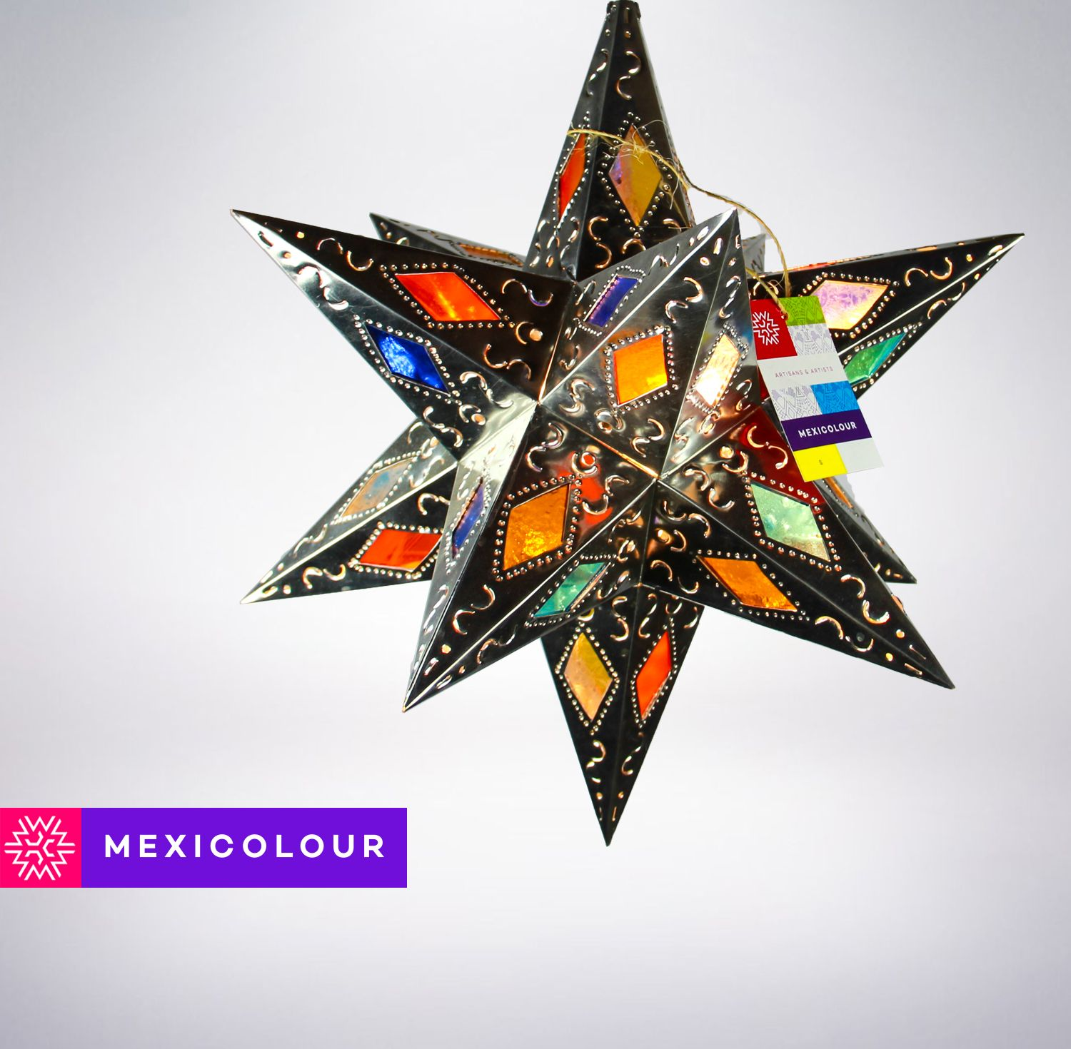 Buy a Hand Crafted Stained Glass Moravian Star Punched Pierced Metal ...