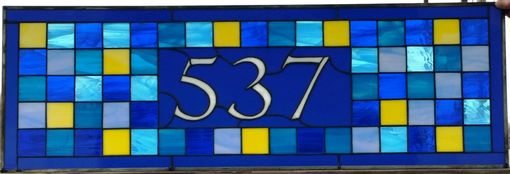 "Custom Made Stained Glass Address Marker - ""Blue Squares"" (Am-186)"