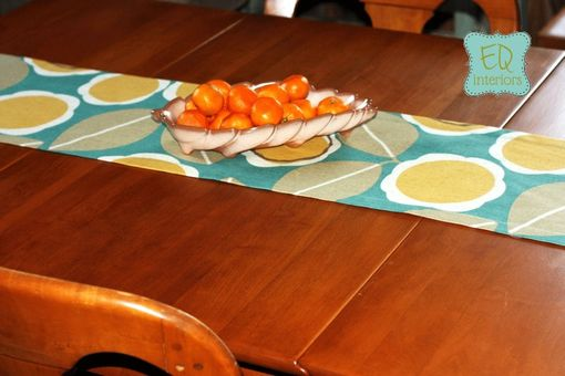 Custom Made Table Runner Robert Allen Modernista Floral Flower Amber Teal Yellow Gray Buffet Dinner Party