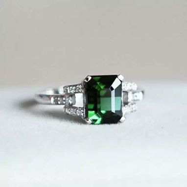 Custom Made 2.83 Carat Tourmaline Ring In 14k White Gold