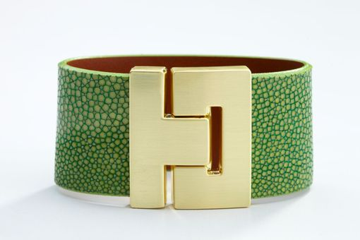 Custom Made Genuine Stingray Luxury Bracelet In Green - Exotic Leather