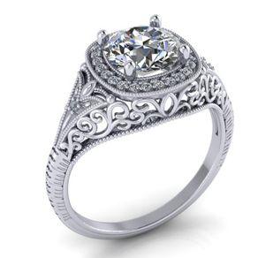 art deco diamond engagement ring 14k white gold vintage filigree halo round cushion 65mm by - Filigree Wedding Rings