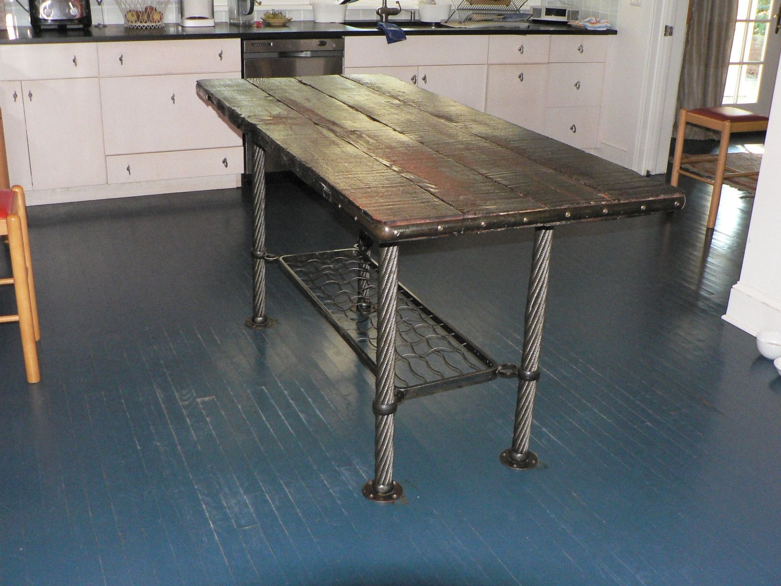 Hand Crafted OBrien Kitchen Table By Modern Metal Work Llc - Small metal work table