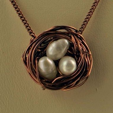 Custom Made Antique Copper Bird Nest Necklace With White Pearl Eggsfrom Createdbeautifully