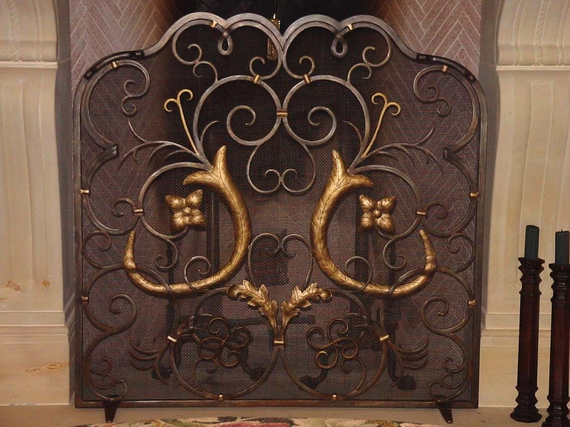 Custom Made Custom French Design Wrought Iron Fireplace Screen - Hand Crafted Custom French Design Wrought Iron Fireplace Screen By
