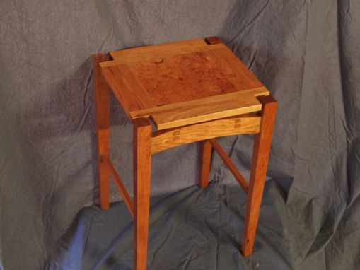 Custom Made Hand Built Cherry & Burl Accent Table