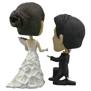 Custom Made Personalized Wedding Cake Topper Of A Couple With A Groom On One Knee