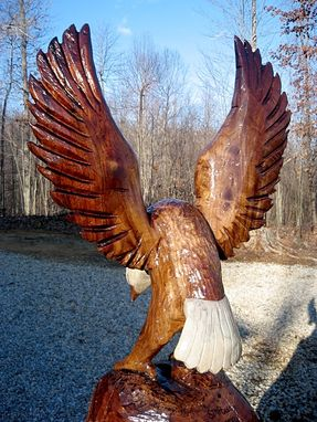Custom Made Perched Bald Eagle Wood Sculpture
