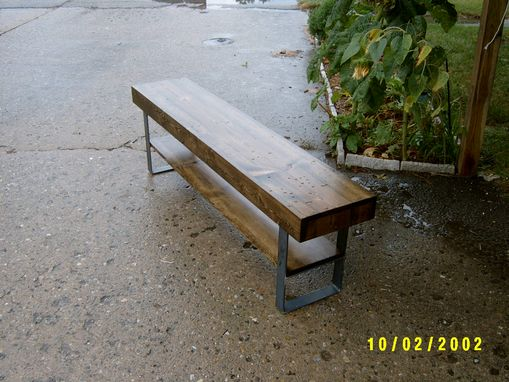 Custom Made Farmhouse Bench With Steel Legs And Shelve 5'