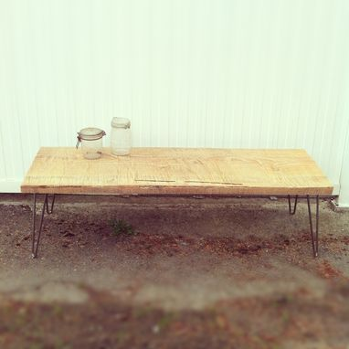 Custom Made Chain-Saw Milled Bench With Hairpin Legs