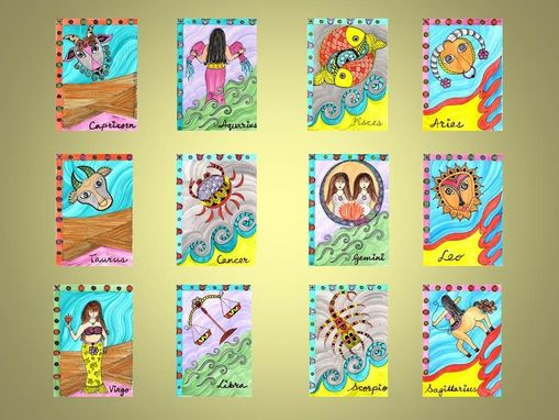 "Custom Made Zodiac Signs Print Set Of 12 Ink And Acrylic Paintings 5""X7"""