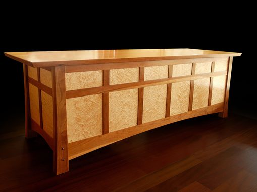 Custom Made Desk In Cherry And Birds-Eye Maple
