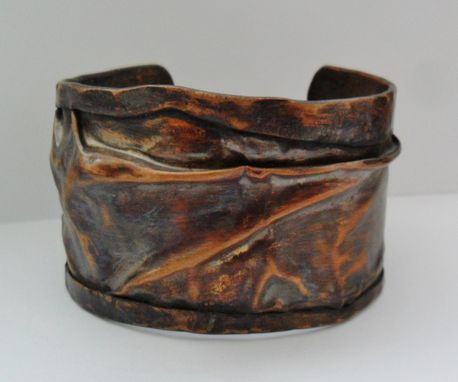 Custom Made Fold Formed Copper Wrinkle Cuff Mens Or Womens