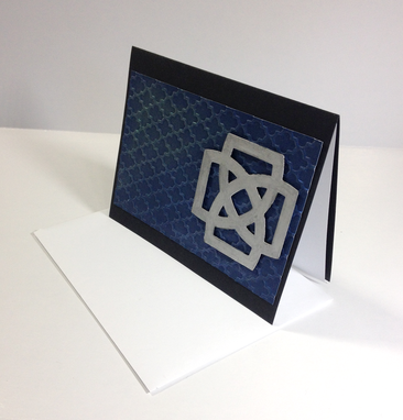Custom Made Handmade Blue And Silver Celtic Knot Blank Notecard